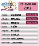 Carrera de la Mujer 2012 Valencia Málaga Madrid Gijón Vitoria sevilla Barcelona Zaragoza