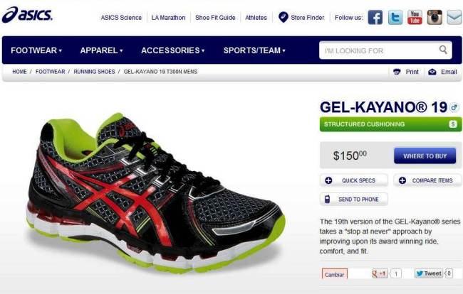Kayano 19 Comprar online: 150$ en la tienda oficial Asics.com