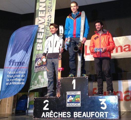 Kilian jornet  en campeonato francia 2013 podio Bon Mardion Jacquemod Jornet. foto nuria burgada