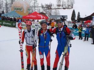 Esqui Montaña: Podio de la carrera individual masculina.