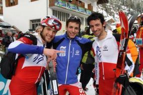 Kilian Jornet Marc Pinsach y Oriol Cardona Esqui de montaña copa del mundo La Pitturina Foto Marc Pinsach