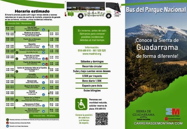 Bus Parque Nacional Guadarrama ruta y frecuencias