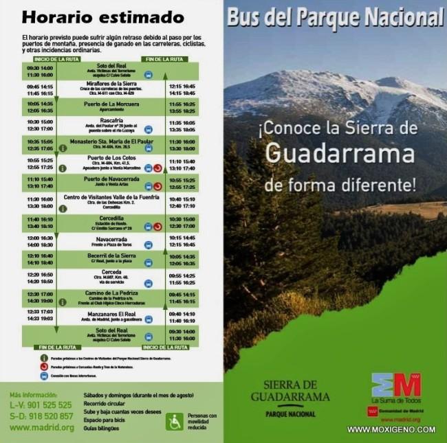 Parque Nacional Guadarrama Bus Público Circular: Paradas y Horarios