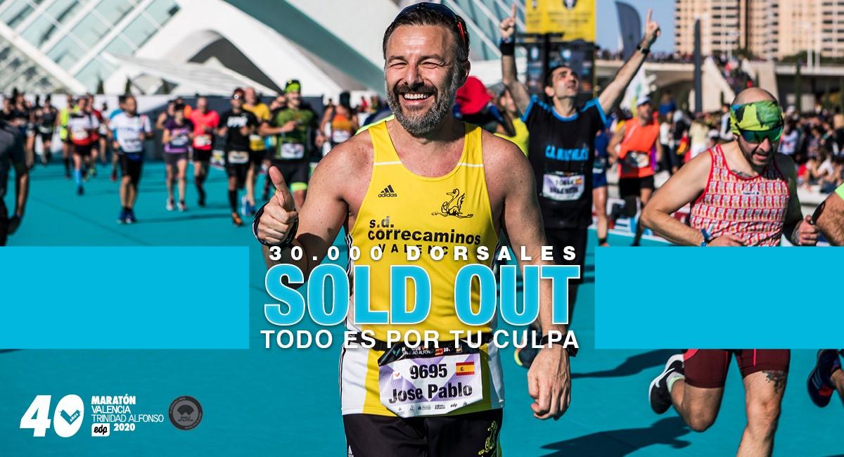 Maratón Valencia 2020 agota los 30.000 dorsales disponibles de su 40º Aniversario. Abierta lista de espera.